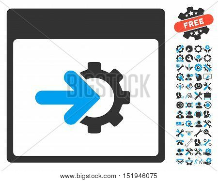 Cog Integration Calendar Page icon with bonus service design elements. Vector illustration style is flat iconic symbols, blue and gray, white background.
