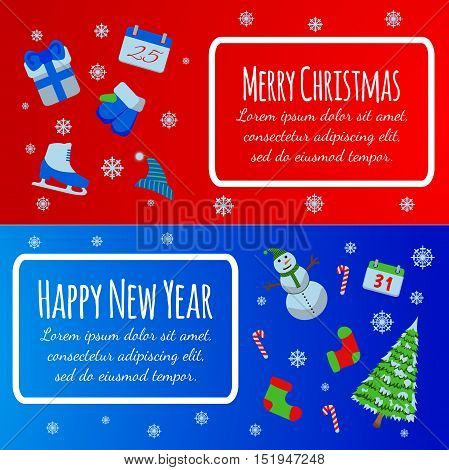 Happy New Year Banner. Merry Christmas Giftcard. Xmas Poster With Snowman, Pine, Skates, Gift, Mitte