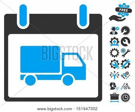 Delivery Car Calendar Day pictograph with bonus setup tools graphic icons. Vector illustration style is flat iconic symbols, blue and gray, white background.