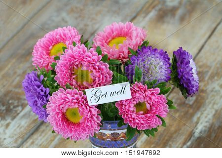 Get well card with colorful daisy flower bouquet
