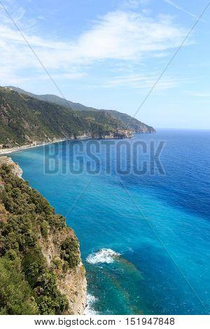 Rocky Coast And Cinque Terre Village Manarola And Mediterranean Sea, Italy