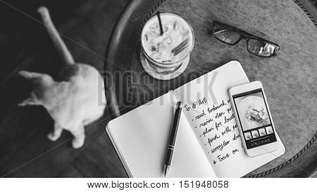 Cafe Coffee Break Mobile Phone Notebook To Do List Concept