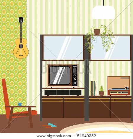 Domestic interior in the style of 70's vector illustration