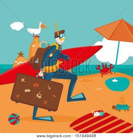 Funny cartoon illustartion. Active travel and vacation. Strange man on a beach.
