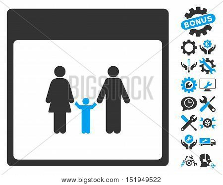 Family Calendar Page icon with bonus settings clip art. Vector illustration style is flat iconic symbols, blue and gray, white background.