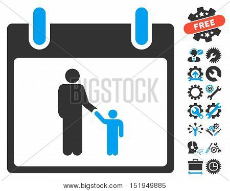 Father Calendar Day pictograph with bonus configuration icon set. Vector illustration style is flat iconic symbols, blue and gray, white background.