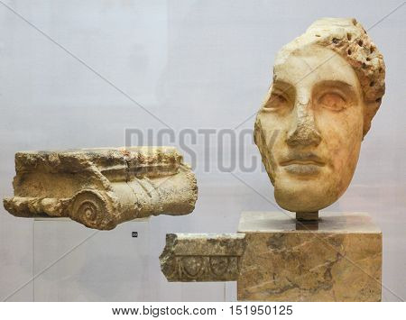 Moscow, Russia - October 04, 2016 - Antique sculptures closely from the collection of Pushkin state museum of fine arts