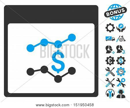 Financial Charts Calendar Page icon with bonus configuration graphic icons. Vector illustration style is flat iconic symbols, blue and gray, white background.