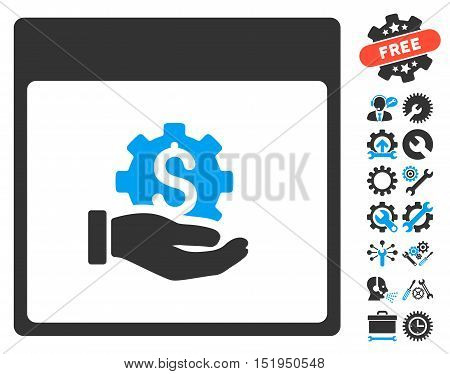 Financial Development Hand Calendar Page pictograph with bonus settings clip art. Vector illustration style is flat iconic symbols, blue and gray, white background.