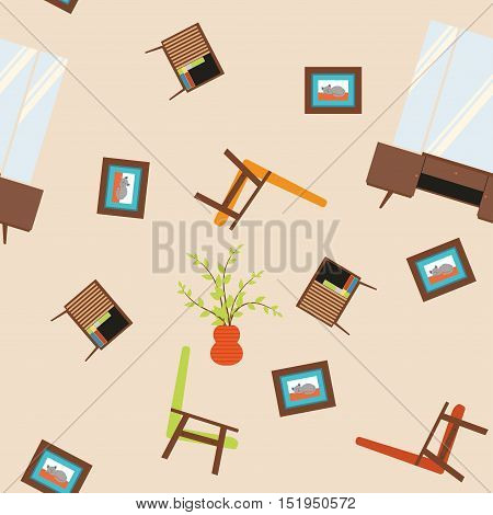 Seamless vector pattern with armchairs paintings mirrors and nightstand
