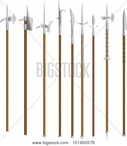 Set vector polearms weapons. This weapon was armed infantry in the European Middle Ages and Renaissance, is also suitable for fantasy.