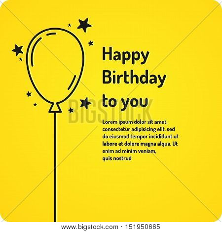 Happy Birthday minimalistic linear poster on bright yellow background. Vector illustration.