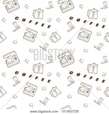 Seamless pattern vector kitchen icons in the style of line art with inscription.