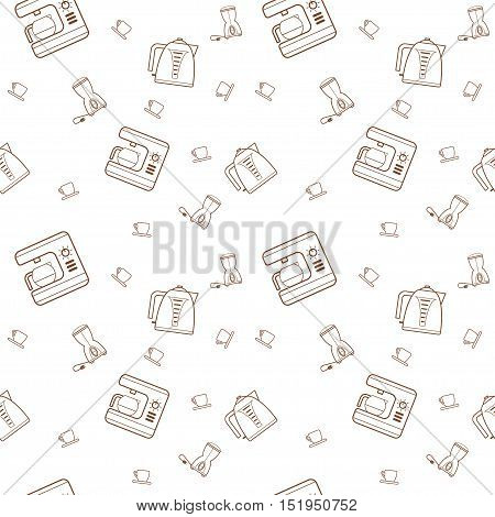 Seamless pattern vector kitchen icons in the style of line art. Background in the style of the kitchen line art.