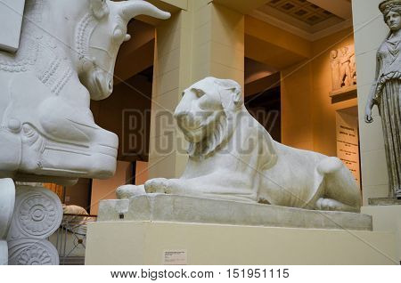 Moscow, Russia - October 04, 2016 - Antique lion sculpture from the collection of Pushkin state museum of fine arts