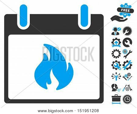 Flame Calendar Day pictograph with bonus settings clip art. Vector illustration style is flat iconic symbols, blue and gray, white background.