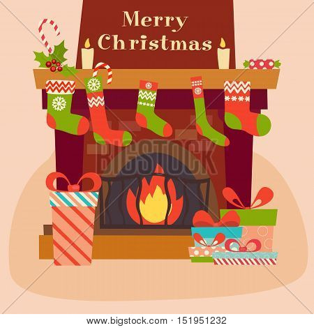 Merry Christmas and Happy New Year. Fireplace gifts boxes and sweets in flat style. Vector illustration