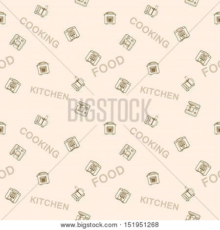 Seamless vector pattern of devices for cooking food on a background with the words