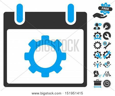 Gear Options Calendar Day icon with bonus service clip art. Vector illustration style is flat iconic symbols, blue and gray, white background.