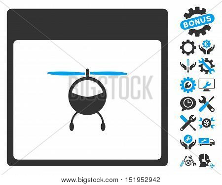 Helicopter Calendar Page icon with bonus configuration design elements. Vector illustration style is flat iconic symbols, blue and gray, white background.