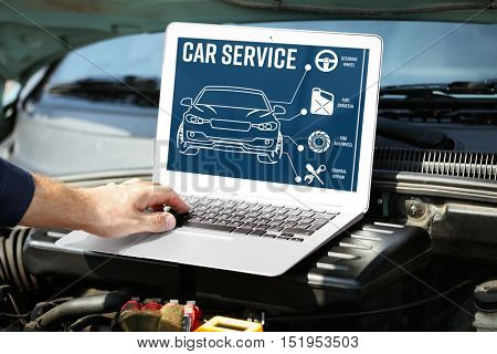 poster of Mechanic with laptop near car engine. Modern car diagnostic program on screen. Car service concept.