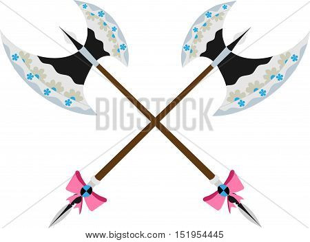 Glamorous poleax with a floral pattern on the blade and a bow on the handle. Stylish weapon for girls. Funny vector illustration.