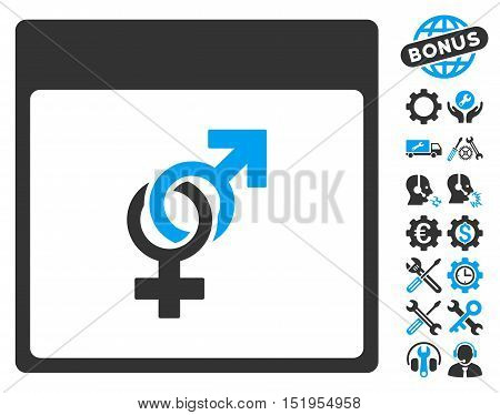 Marriage Calendar Page pictograph with bonus options graphic icons. Vector illustration style is flat iconic symbols, blue and gray, white background.