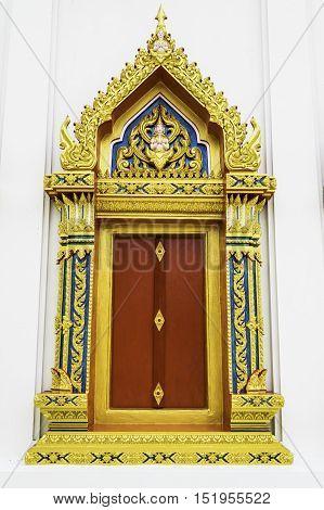 Thw beatiful Thai Temple window in Thailand