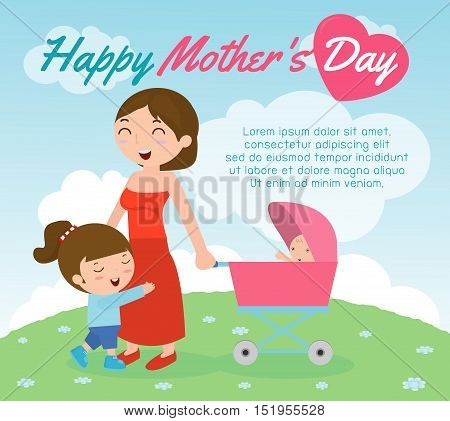 Beautiful mother with her daughter. Card of Happy Mothers Day. Vector illustration with beautiful women and child, happy mothers day card vector illustration