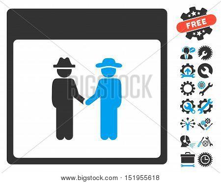 Men Handshake Calendar Page pictograph with bonus setup tools symbols. Vector illustration style is flat iconic symbols, blue and gray, white background.