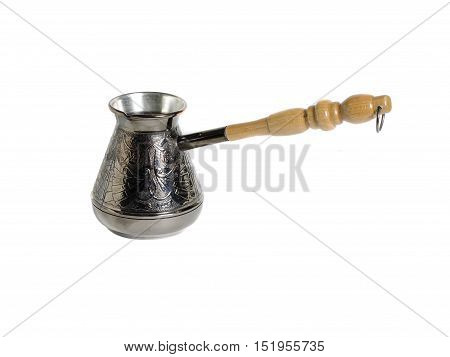 Old wooden coffee grinder with handle isolated on white background