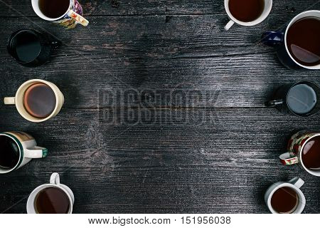 Border of various tea cups and mugs. Flat lay