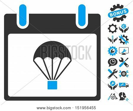 Parachute Calendar Day pictograph with bonus settings icon set. Vector illustration style is flat iconic symbols, blue and gray, white background.