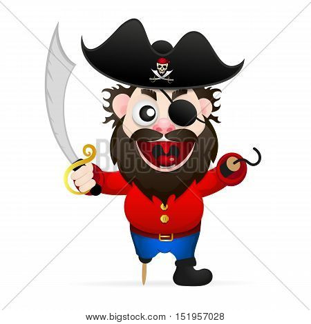 Funny pirate with sword and hook vector illustration.