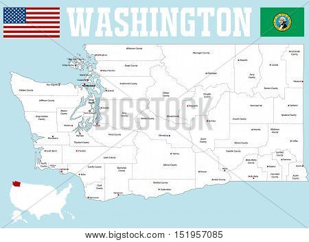 large and detailed map of the State of Washington with all counties and county seats