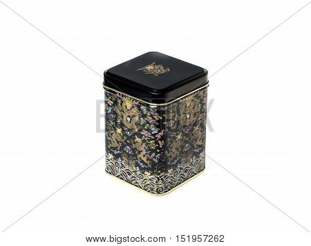 Metal Storage box of tea or coffee black.