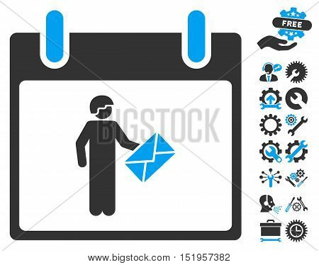 Postman Calendar Day icon with bonus tools clip art. Vector illustration style is flat iconic symbols, blue and gray, white background.