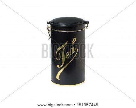 Plastic Storage box of tea or coffee black.