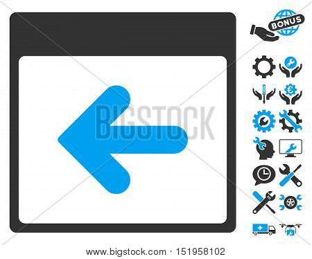 Previous Calendar Day pictograph with bonus service clip art. Vector illustration style is flat iconic symbols, blue and gray, white background.