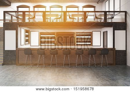 Pub with bar table two floors posters on white walls and rows of bottles with alcohol on shelves. Concept of partying. Mock up. Toned image. 3d rendering