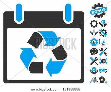 Recycle Calendar Day pictograph with bonus tools pictures. Vector illustration style is flat iconic symbols, blue and gray, white background.
