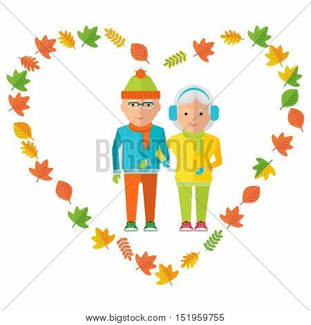 Elderly couple in love wear in warm clothes. Healthy life walking in the autumn park. Flat cartoon elderly couple illustration. Objects isolated on a white background.