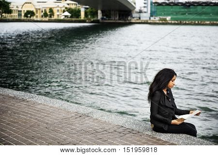 River Reading Letter Message Broken Heart Poet Concept
