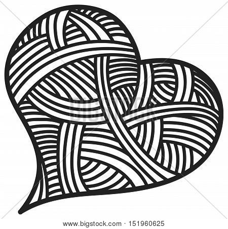 Valentine day doodle hearts black and white