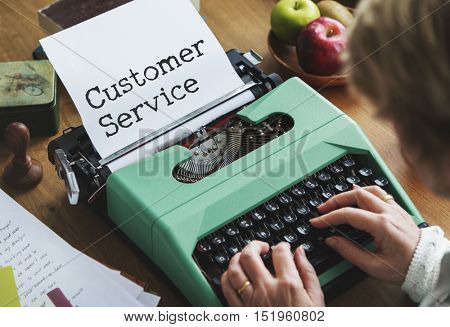 Customer Service Care Assistance Typing Concept