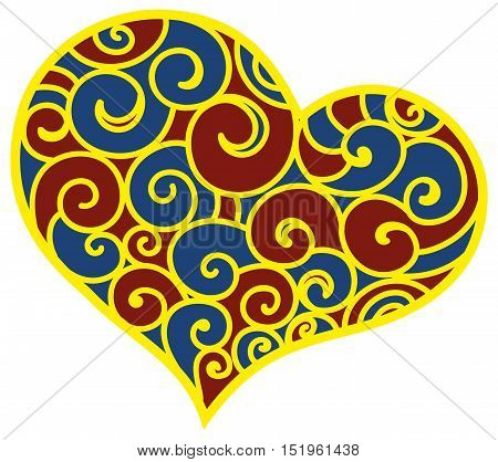 Valentine day heart patterned floral ornament. Heart with floral blue and red ornament