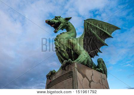 Sculpture Of Dragon On Dragon Bridge In Ljubljana, Slovenia