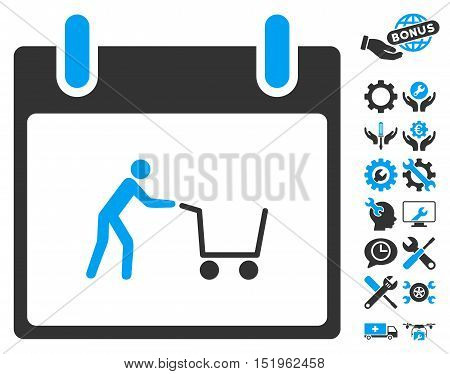 Shopping Cart Calendar Day pictograph with bonus tools clip art. Vector illustration style is flat iconic symbols, blue and gray, white background.