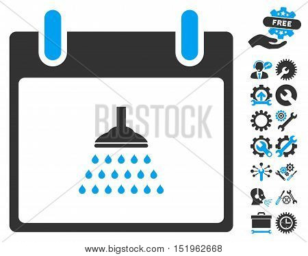 Shower Calendar Day pictograph with bonus setup tools clip art. Vector illustration style is flat iconic symbols, blue and gray, white background.