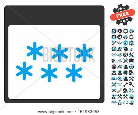 Snowflakes Calendar Page pictograph with bonus settings clip art. Vector illustration style is flat iconic symbols, blue and gray, white background.